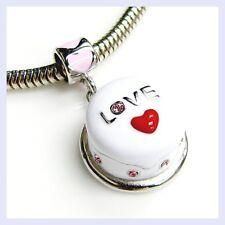Sterling Silver Birthday Cake Heart Love Dangle Bead for European Charm Bracelet