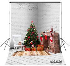 Indoor Xmas Tree Fireplace White Brick Wall Wood Floor Photo Background Backdrop