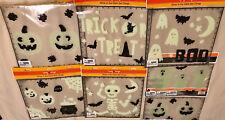 Halloween glow in the dark reuseable window gel clings - new in sealed package