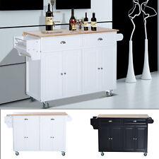"58"" Large Rolling Kitchen Island Cart Modern Portable Trolley Cabinet Furniture"