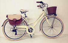 """CITY BIKE Bicicletta CLASSICO ITALIANO DONNA ALLUMINIO 28""""  7V RETRO' Beige"""