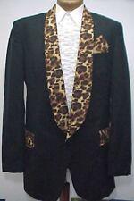 BLACK LEOPARD PRINT VINTAGE PROM TUXEDO SMOKING JACKET mens sizes 44 - 58
