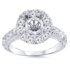 1ct Halo Diamond Engagement Ring Setting 14K White Gold
