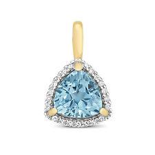 Il Topazio Blu E Diamante Ciondolo Oro Giallo Blu Svizzero certificato di valutazione