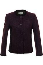 Ocupado Plum & Negro con paneles de lana mezcla señoras chaqueta