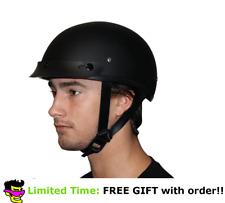 Daytona Matte Dull Black Skull Cap W Visor DOT Slim Motorbike Motorcycle Helmet