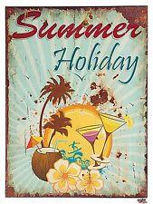 Blechschild Summer Holiday 30x40cm Metallschild Dekoschild Retro Shabby Vintage