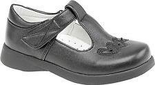Boulevard Faux Leather Girls Touch Fasten T-Bar Smart School Shoes Black Matt