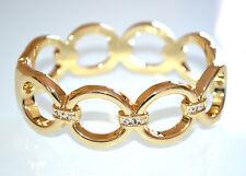 BRACCIALE RIGIDO donna elegante ORO ad anelli STRASS cristalli da cerimonia 960