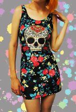 New Junior Girl's Sugar Skull Floral Stretchy Bodycon Dress - New Breed Girl