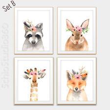 Set of 4 Woodland Animal Watercolor Art Prints -Forest Animall Wall Decor #Set B