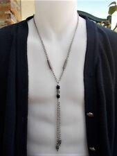 Long collier pour homme acier cristal noir chaine pour hommes bijoux masculins