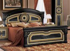Klassisches Doppelbett 160/180/197x200 Hochglanz Lackiert Schwarz Gold Italien