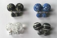 Doppel Perlen Ohrstecker Ohrringe Perlenohrringe crackle schwarz blau frosted