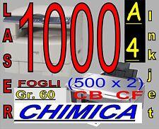 1000 FOGLI DA 2 COPIE CARTA CARBONE CHIMICA X STAMPANTI LASER E INKJET A4 COLORE