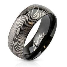 Men's Women's Ring Made of Stainless Steel Black Finger Print Laser Engraved