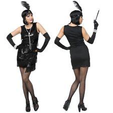 Charleston Fransen KLEID MIT STIRNBAND schwarz 20er Jahre Damen Kostüm