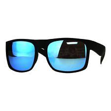 Mens Square Rectangular Fashion Sunglasses Black Frame Mirror Lens UV 400