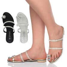WOMENS LADIES LOW HEEL FLAT TOE RING DIAMANTE STRAPPY FLIP FLOP SANDALS SIZE