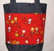 NEW Med Tote Bag Handmade/w Peanuts Fall Leaves Fabric