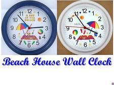BEACH House Wall CLOCK Sun Sand Sea Ocean Castle Shells Shore Summer Vacation