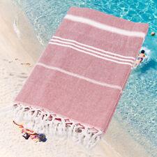 Turkish Style Water Absorbent Soft Cotton Blend Tassel Design Beach Towel Stripe