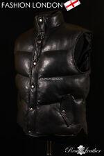 'NITROGEN' Men's Puffer Black Sleeveless Lambskin Leather Gilet Vest Waistcoat