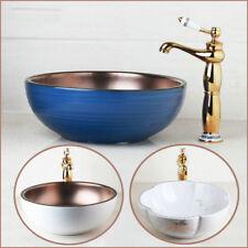 3 Style Art Ceramic Wash Basin Round Vessel Sink+Waste Drain+Mixer Faucet Set