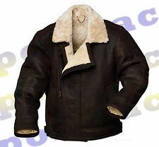 Para Hombre Original Piel de oveja Cuero Napa Color Piel Aviador Flying Chaqueta-bosque marrón
