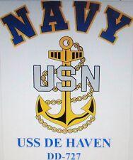 USS DE HAVEN DD-727* DESTROYER U.S NAVY W/ ANCHOR* SHIRT