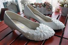 Escarpin éscarpins chaussures pour femmes blanc dentelle jeune mariée 3 cm 8421