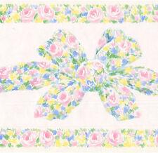 Pastel Rose Bow Painted Vintage Elegant Pink Vinyl White Wallpaper Wall Border