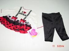 NWT Infant Girls 2 piece Holiday Christmas Santa Set Red Black Dress Velour Pant