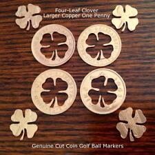 Cut Coin Golf Ball Marker Lucky Four Leaf Clover Good Luck Golfers AU NZ Penny