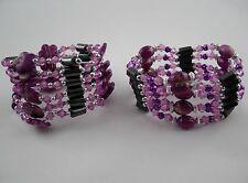 Hematita Imán Cadenas o Pulseras diverse Diseños Color Púrpura/ Fucsia