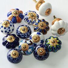 Möbelknopf Möbelgriff Möbelknöpfe Keramik Möbelknäufe Knauf Blau Weiß zw
