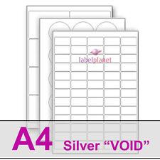 """A4 Silver """"nul"""" Polyester Garantie étiquettes, montre quand supprimé. Label Planet ®"""