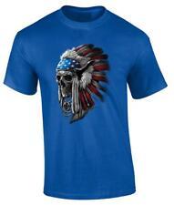Patriotic Chief Skull T-Shirt Indian Native American Headdress Tee