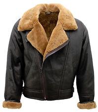 Men's Aviator Cross Zip Ginger Shearling Sheepskin Brown Leather Jacket