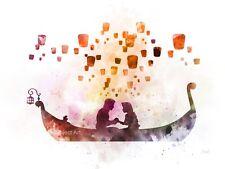 Art Imprimé entremêlé Lanterne Scène Illustration, Raiponce, Princesse, Disney