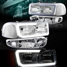 CHROME DRL LED HEADLIGHTS+BUMPER W/CLEAR LAMP FIT 02-06 GMC SIERRA 1500 DENALI