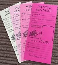 Personalizzati Hen Night Party Addio al Nubilato saggezza / consigli scorrere GAME CARDS