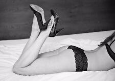 Hot Sexy lady Canvas Poster Erotic Art Girl Naked Women Lingerie Stileto Boudoir