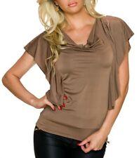 Sexy Damen Girly Trend Wasserfall Ausschnitt Shirt Volant Arm Top 34/36/38 Braun