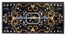 Black Marble Outdoor Dining Table Pietradura Inlaid Gems Furniture Decor H2923