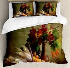 Harvest Duvet Cover Set with Pillow Shams Fall Vegetables Leaves Print