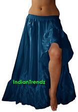 Teal - Satin Slit 12 Yard Flamenco Skirt Belly Dance Gypsy Ruffle Jupe