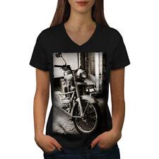 Old Retro Motorbike Women V-Neck T-shirt NEW | Wellcoda