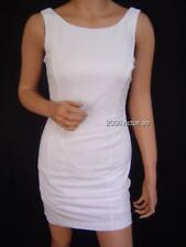 New Bebe White Body Con Zip Fitted Dress XXS XS S M L 217864 Neu Weiß Kleid