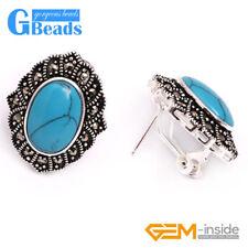 New 15x20mm Oval Beads Tibetan Silver Stud Earrings Fashion Jewelry For Women